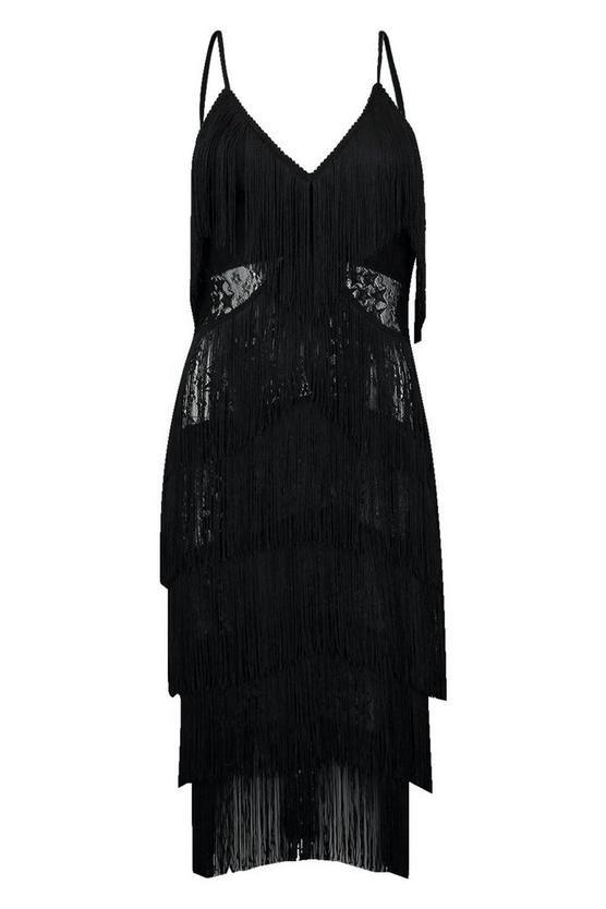 All Over Tassle Sheer Lace Midi Dress | Boohoo black