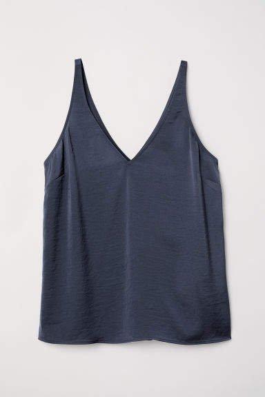 V-neck Satin Camisole Top - Blue