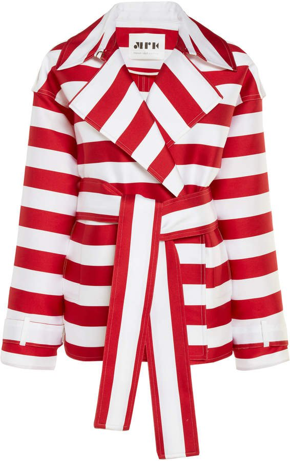 Maison Rabih Kayrouz Striped Satin Short Coat Size: 36