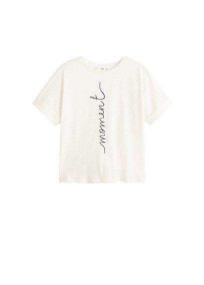 MANGO Embroidered detail cotton t-shirt
