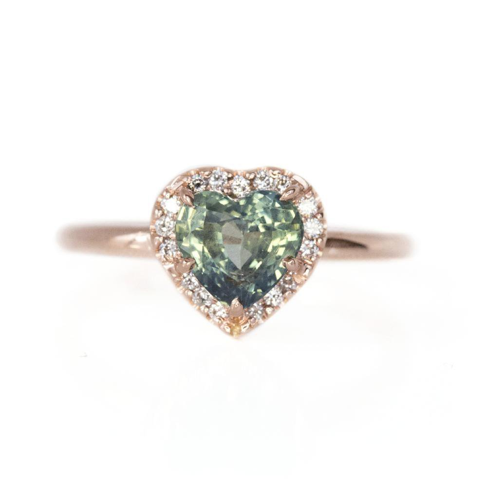 teal heart sapphire in rose gold