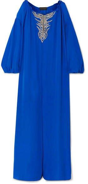 Dundas - Embroidered Silk-georgette Kaftan - Cobalt blue