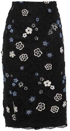 Floral-appliqued Embroidered Lace Midi Skirt