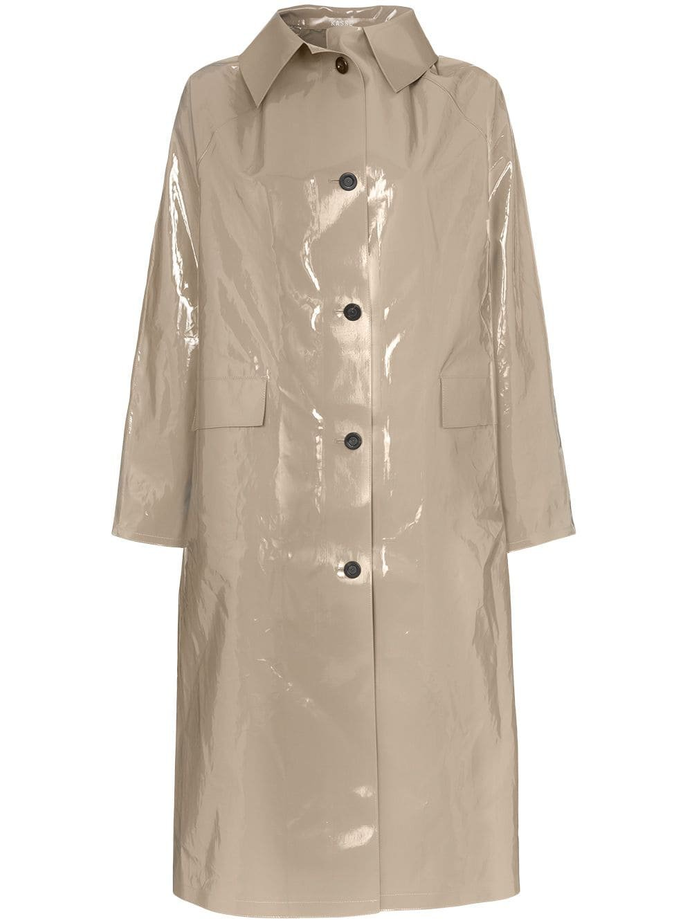 Kassl Patent Buttoned Cotton Blend Coat - Farfetch