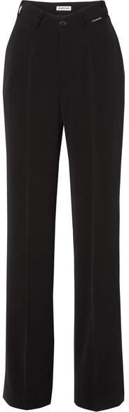 Stretch-crepe Straight-leg Pants - Black