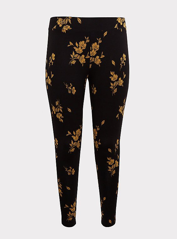 Black & Yellow Floral Legging - Plus Size   Torrid