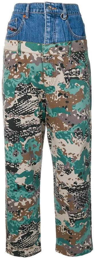 layered camouflage trousers