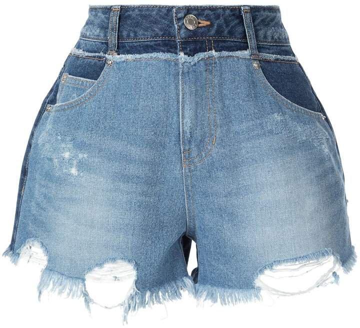 destroyed pocket denim shorts