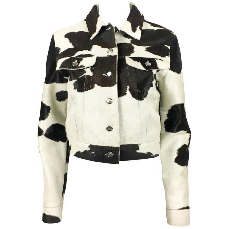 1990's Fendi Numbered Cow Print Ponyskin Jacket For Sale at 1stdibs