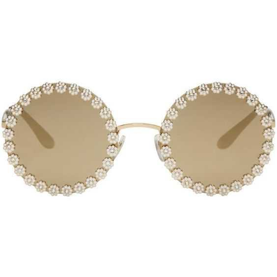 Dolce and Gabbana Gold Studded Daisy Sunglasses