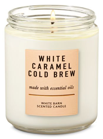 White Caramel Cold Brew Single Wick Candle | Bath & Body Works