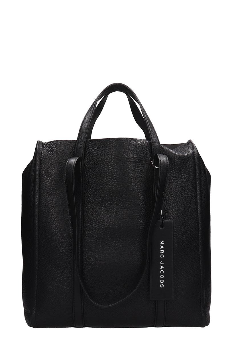 Marc Jacobs Black Leather Tag Tote 31 Bag