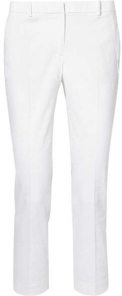 Cropped Linen-blend Tapered Pants - White