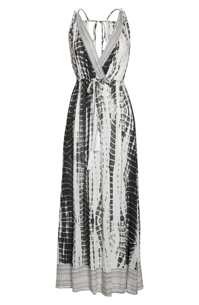 Elan Cover-Up Maxi Dress black white