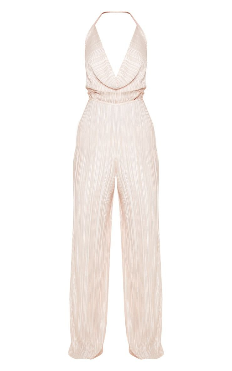 Champagne Pleated Cowl Neck Cut Out Detail Jumpsuit | PrettyLittleThing USA
