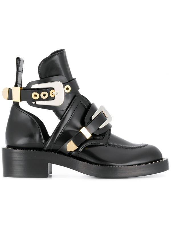Balenciaga Black Ceinture Leather Ankle Boots - Farfetch
