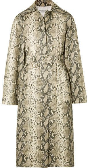 Snake-print Coated-shell Trench Coat - Gray