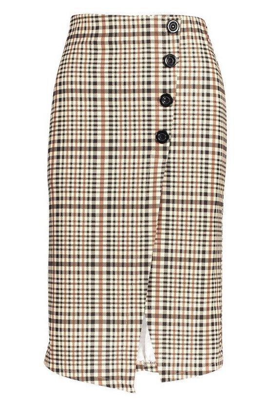 Checked Button Front Split Midi Skirt   Boohoo
