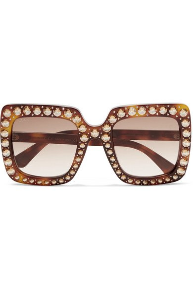 Gucci | Oversized crystal-embellished square-frame tortoiseshell acetate sunglasses | NET-A-PORTER.COM