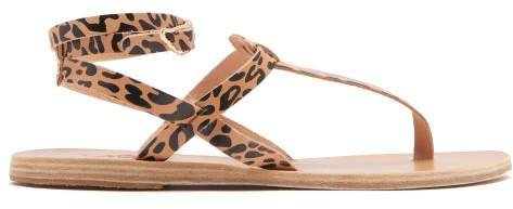 Estia Leopard Print Leather Sandals - Womens - Black Tan