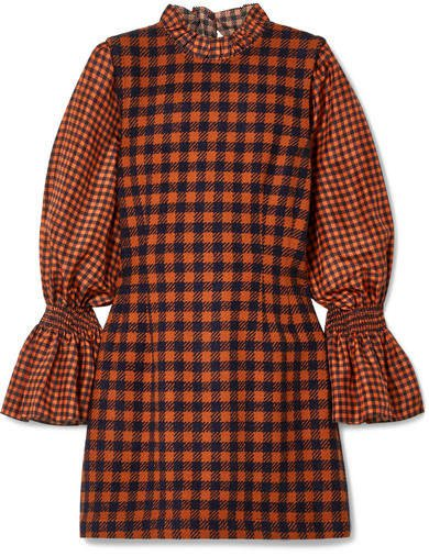 Ethno Pop Checked Wool-blend And Silk Mini Dress - Orange