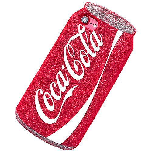 Amazon.com: 3D Soft Silicone Red Cocacola Can Case for iPhone7 iPhone8 iPhone 7 8 Regular Size Silver Glitter Shockproof Drop Resistant Protective Shiny Unique Bling Cool Special Fun Kids Boys Teens Girls: Cell Phones & Accessories