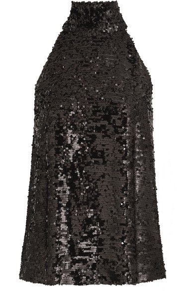 Galvan | Moonlight sequined chiffon halterneck top | NET-A-PORTER.COM