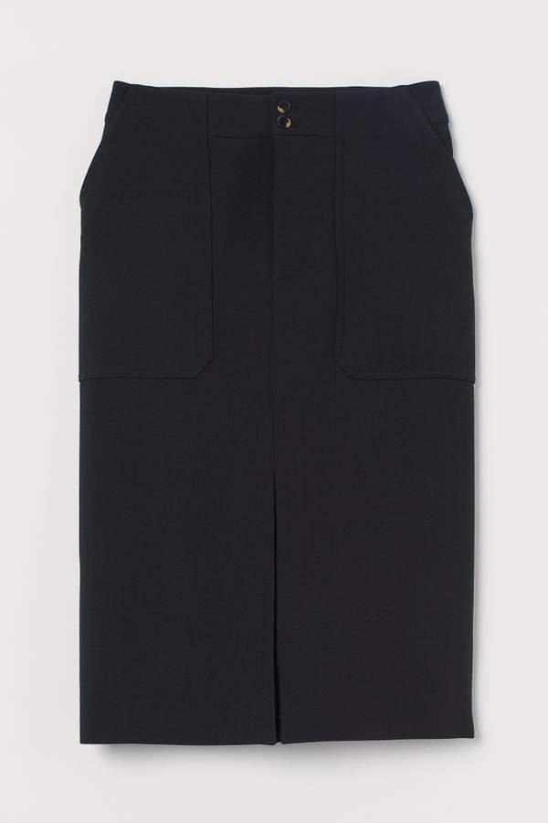 Wool-blend Pencil Skirt - Black