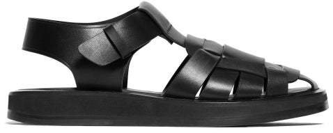 Fisherman Caged Leather Sandals - Womens - Black