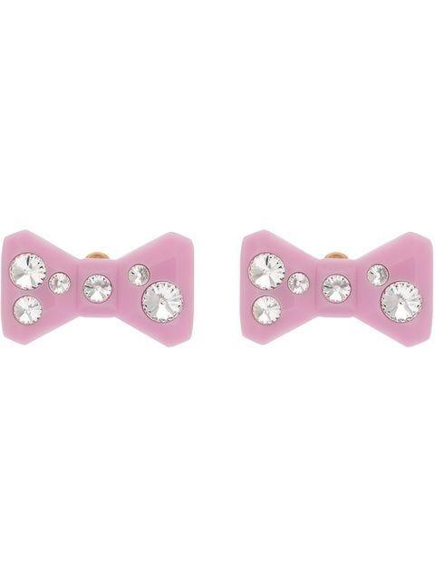 Miu Miu Crystal Embellished Bow Earrings - Farfetch
