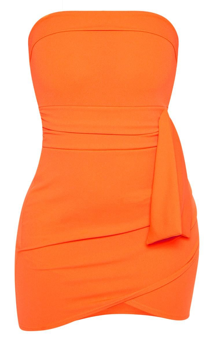 Orange Tie Waist Detail Bandeau Bodycon Dress - New In Clothing - New In | PrettyLittleThing USA