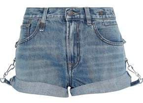 Hook-detailed Faded Denim Shorts