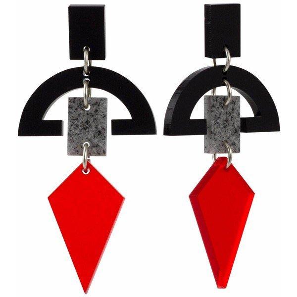 Black Stone Half Moon & Red Diamond Hanging Earrings