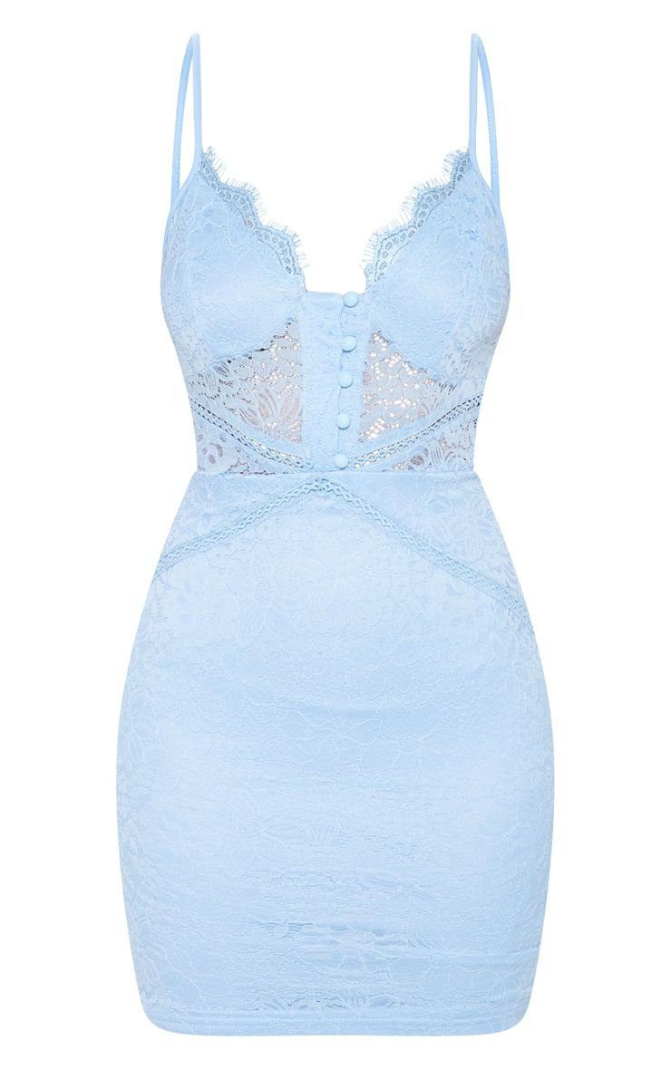 Dusty Blue Lace Button Detail Bodycon Dress | PrettyLittleThing