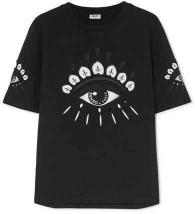 Embellished Embroidered Cotton-jersey T-shirt - Black