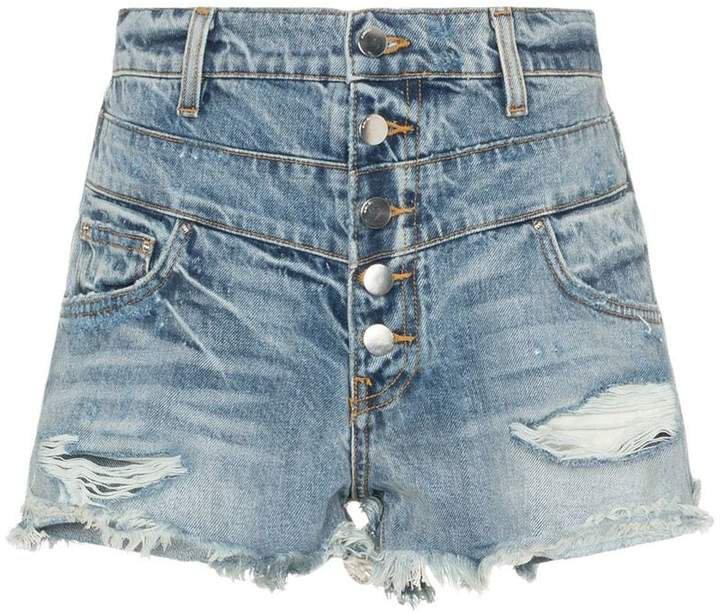 high-waisted distressed denim shorts