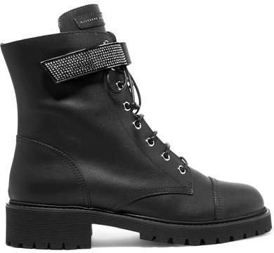 Crystal-embellished Leather Ankle Boots - Black