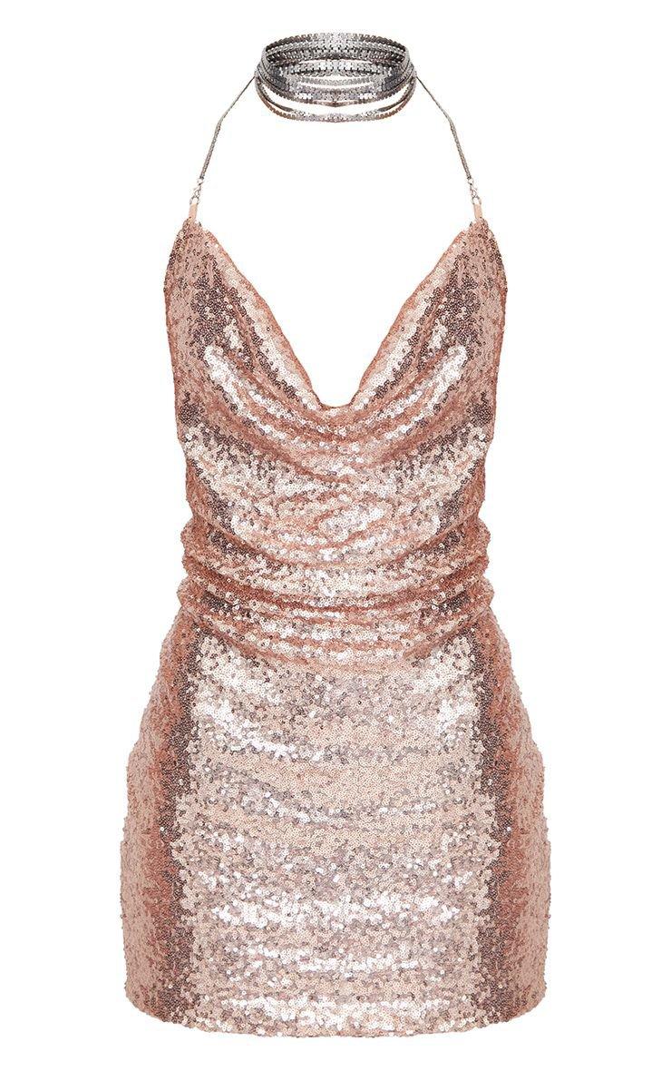 Rose Gold Sequin Chain Choker Mini Dress | PrettyLittleThing USA