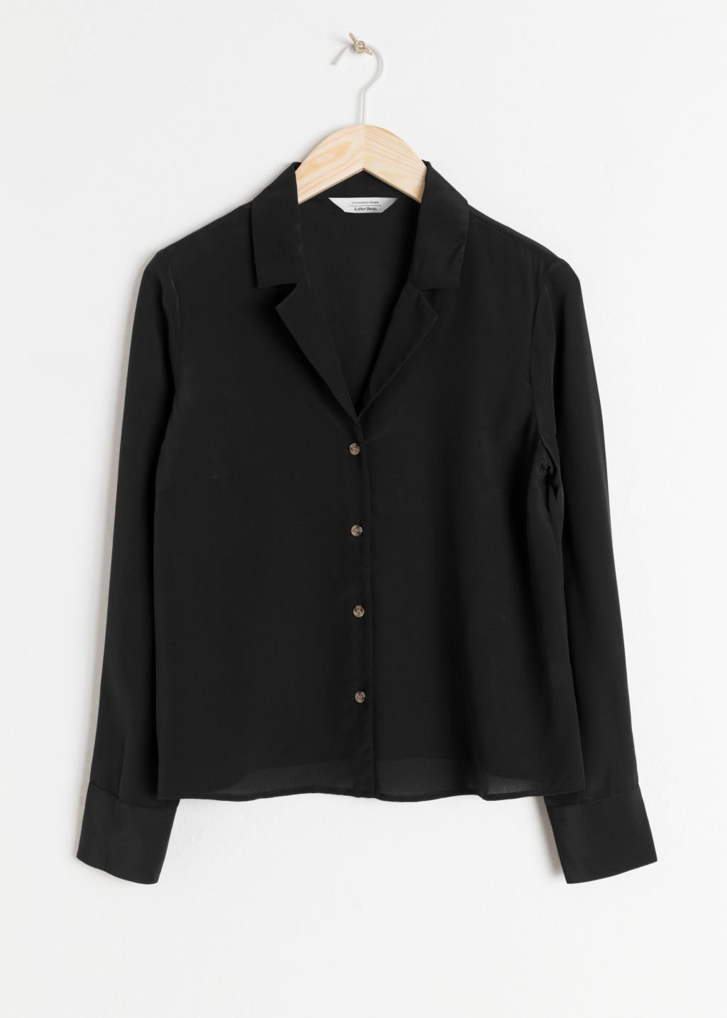 V-Cut Silk Button Down Blouse - Black - Shirts - & Other Stories US