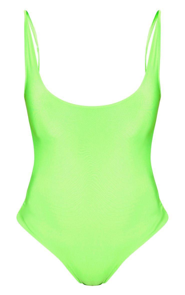 Neon Green Slinky Back Strap Detail Bodysuit | PrettyLittleThing USA