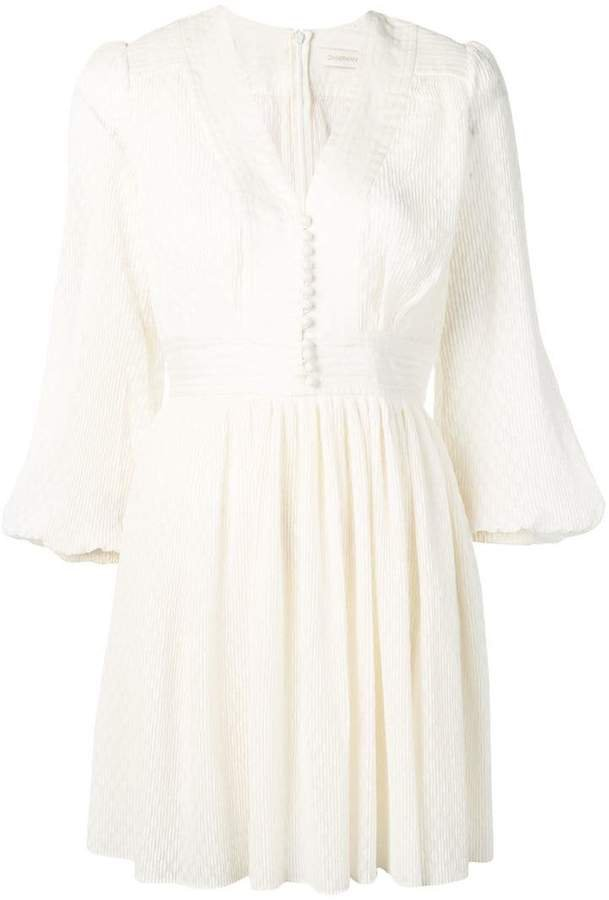 long-sleeved flared dress