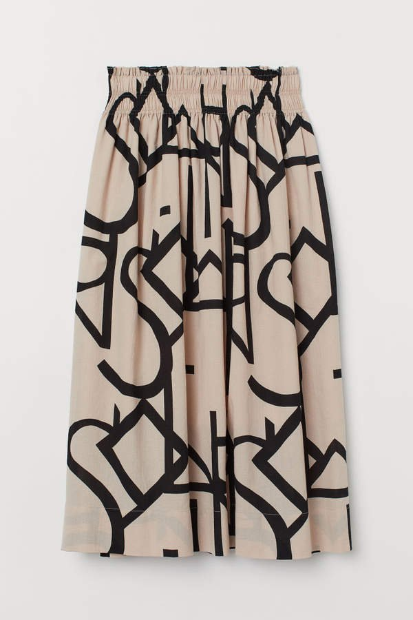 Creped Cotton Skirt - Beige