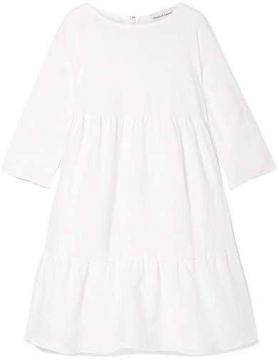 Oversized Tiered Linen Dress - Ivory