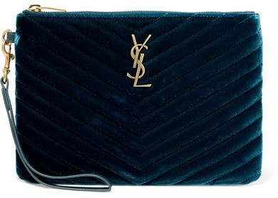 Monogramme Quilted Velvet Pouch - Green