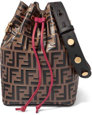 Mon Trésor Embossed Leather Bucket Bag - Brown