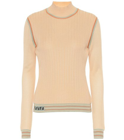 Silk knit turtleneck top