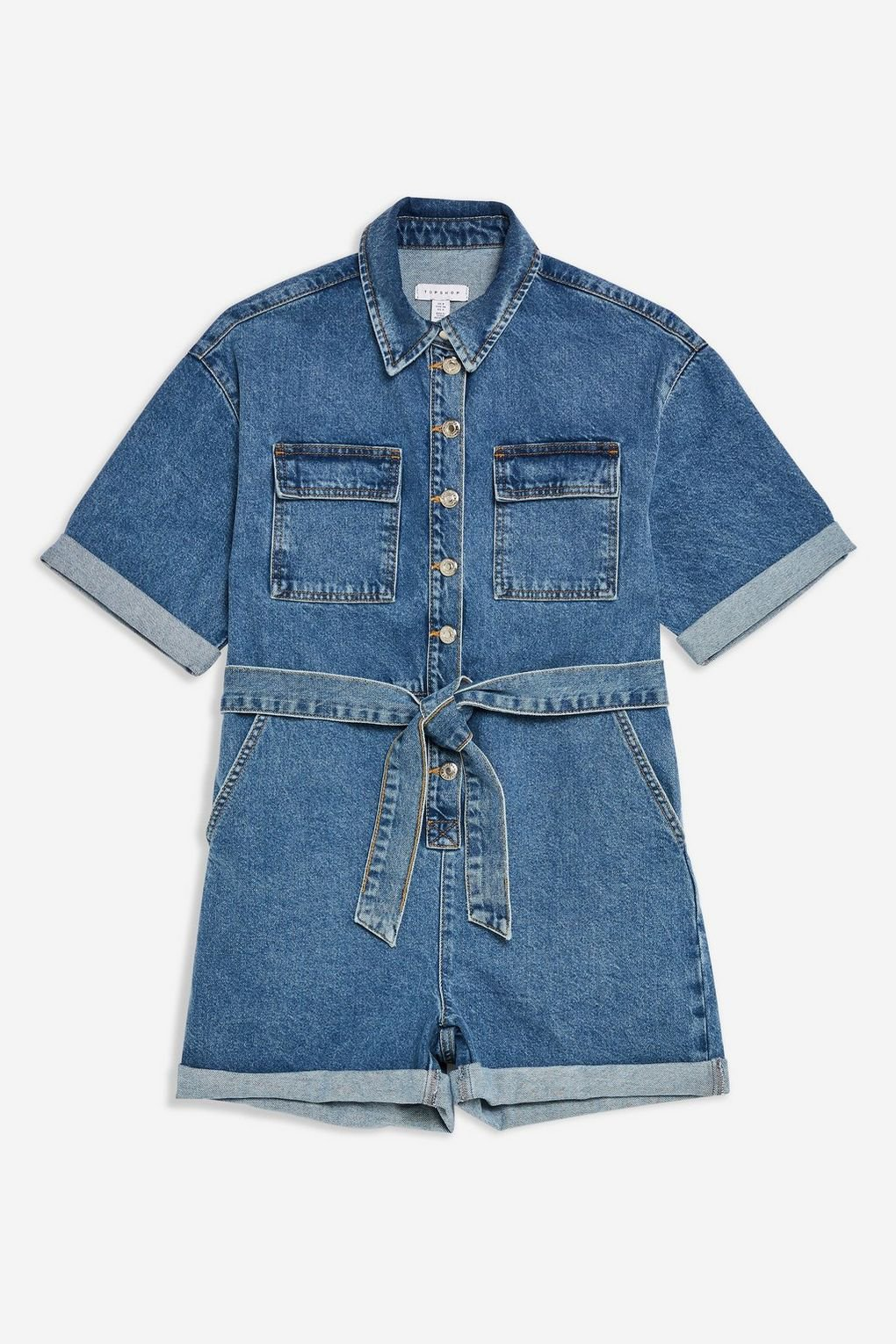 Blue Denim Button Playsuit - Rompers & Jumpsuits - Clothing - Topshop USA
