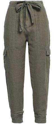 Erlette Tie-front Cropped Linen Tapered Pants