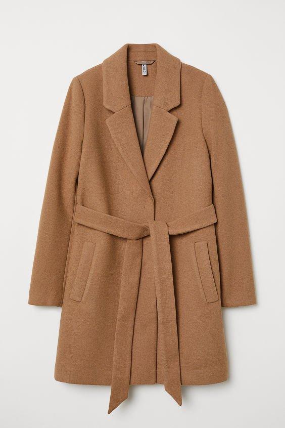 Coat with Tie Belt - Dark beige - | H&M US