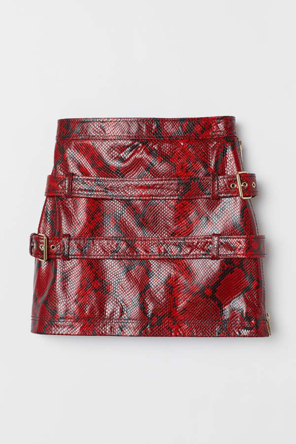 Snakeskin-look Leather Skirt - Red